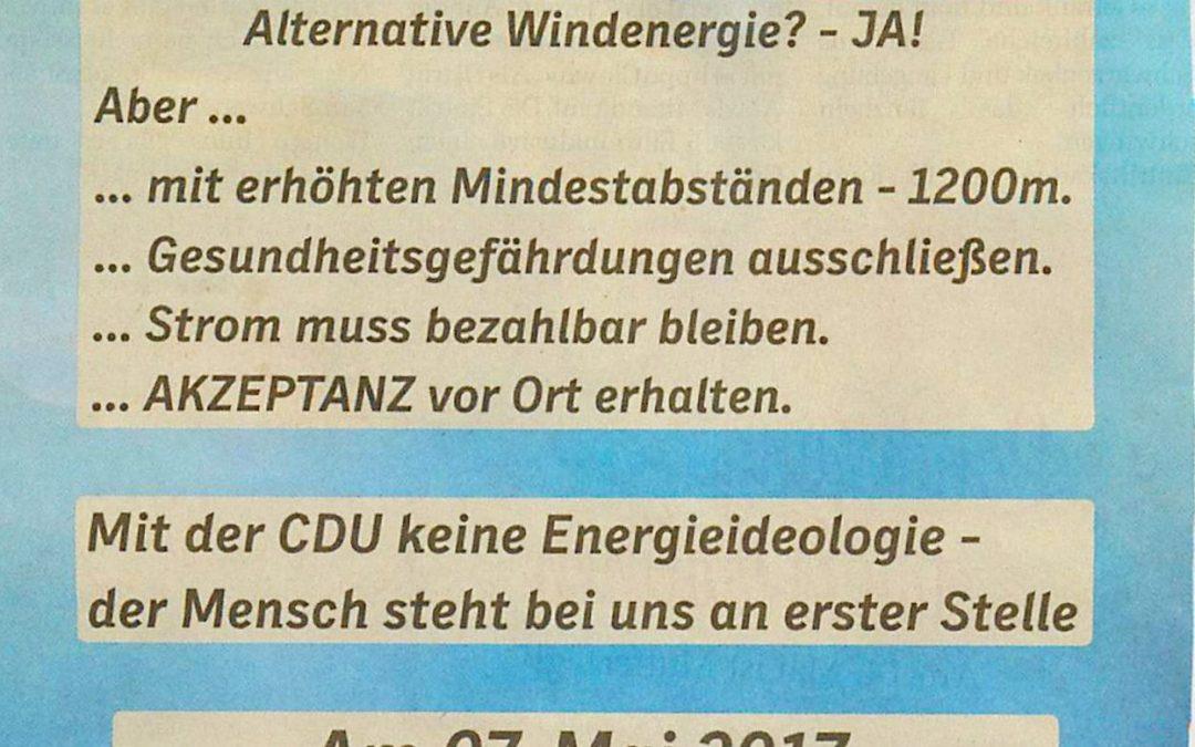 """Was waren das noch für Versprechen der CDU Schleswig-Holstein: """"Gesundheitsgefährdungen ausschließen"""" – auf dem Land merken wir uns das!"""